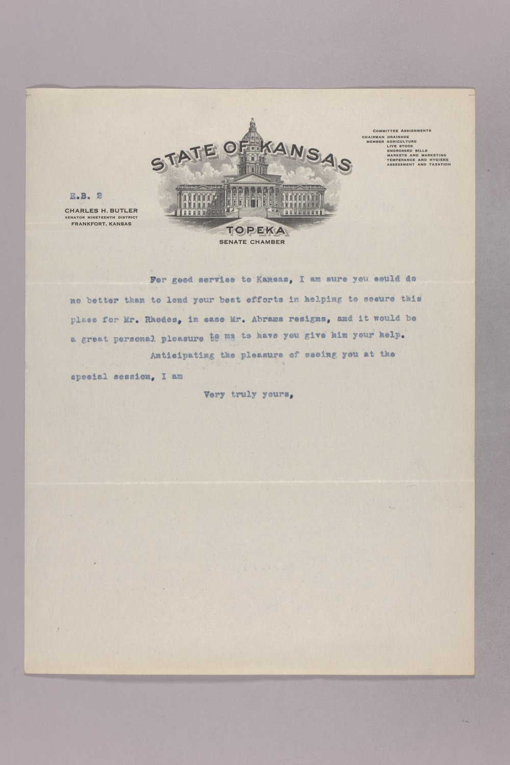 Governor Clyde M. Reed correspondence, commission appointments - 9