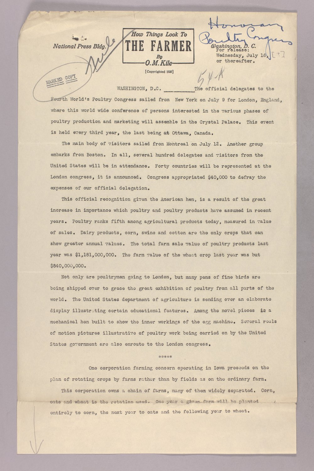 Governor Clyde M. Reed correspondence, honorary appointments - 1