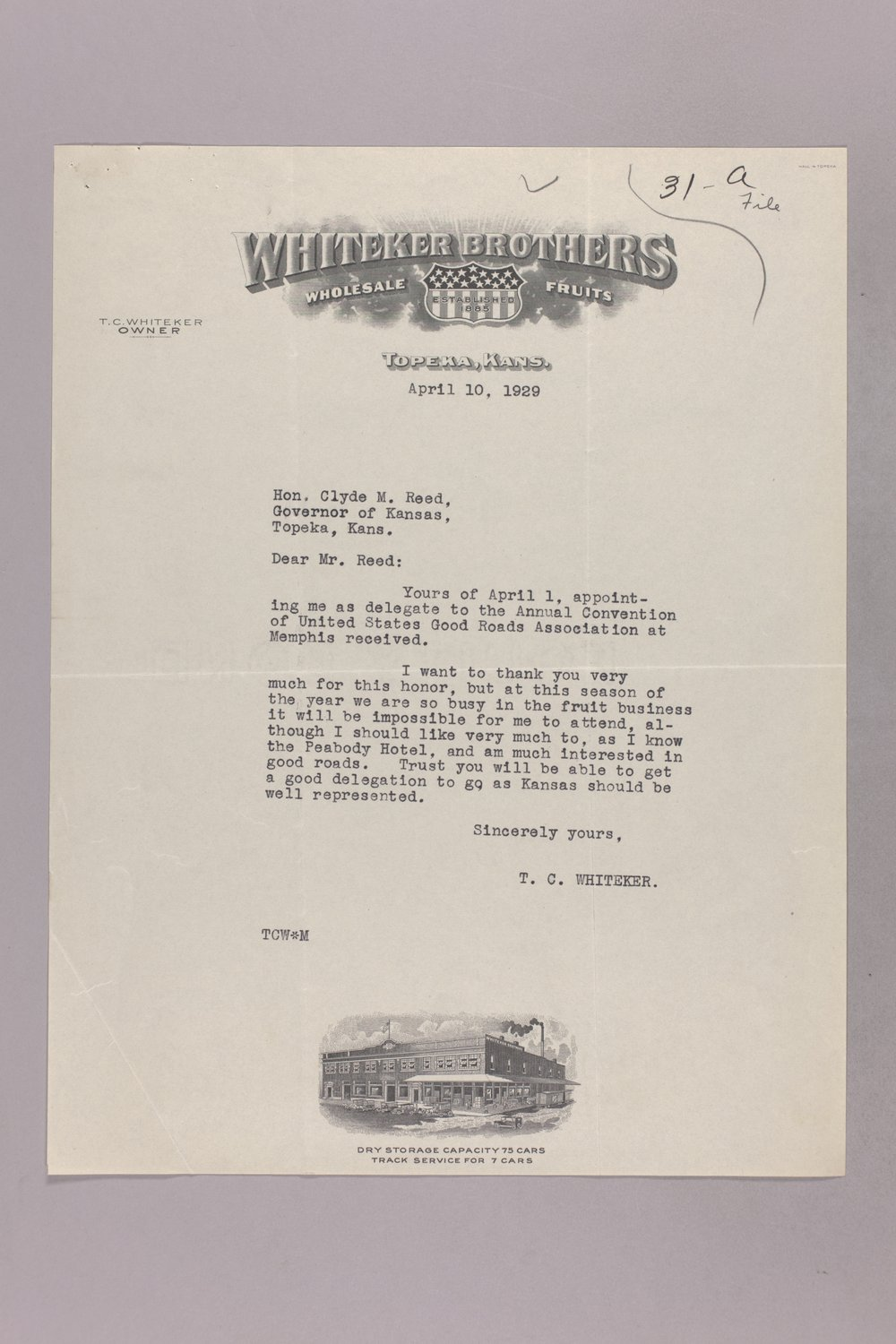 Governor Clyde M. Reed correspondence, honorary appointments - 3