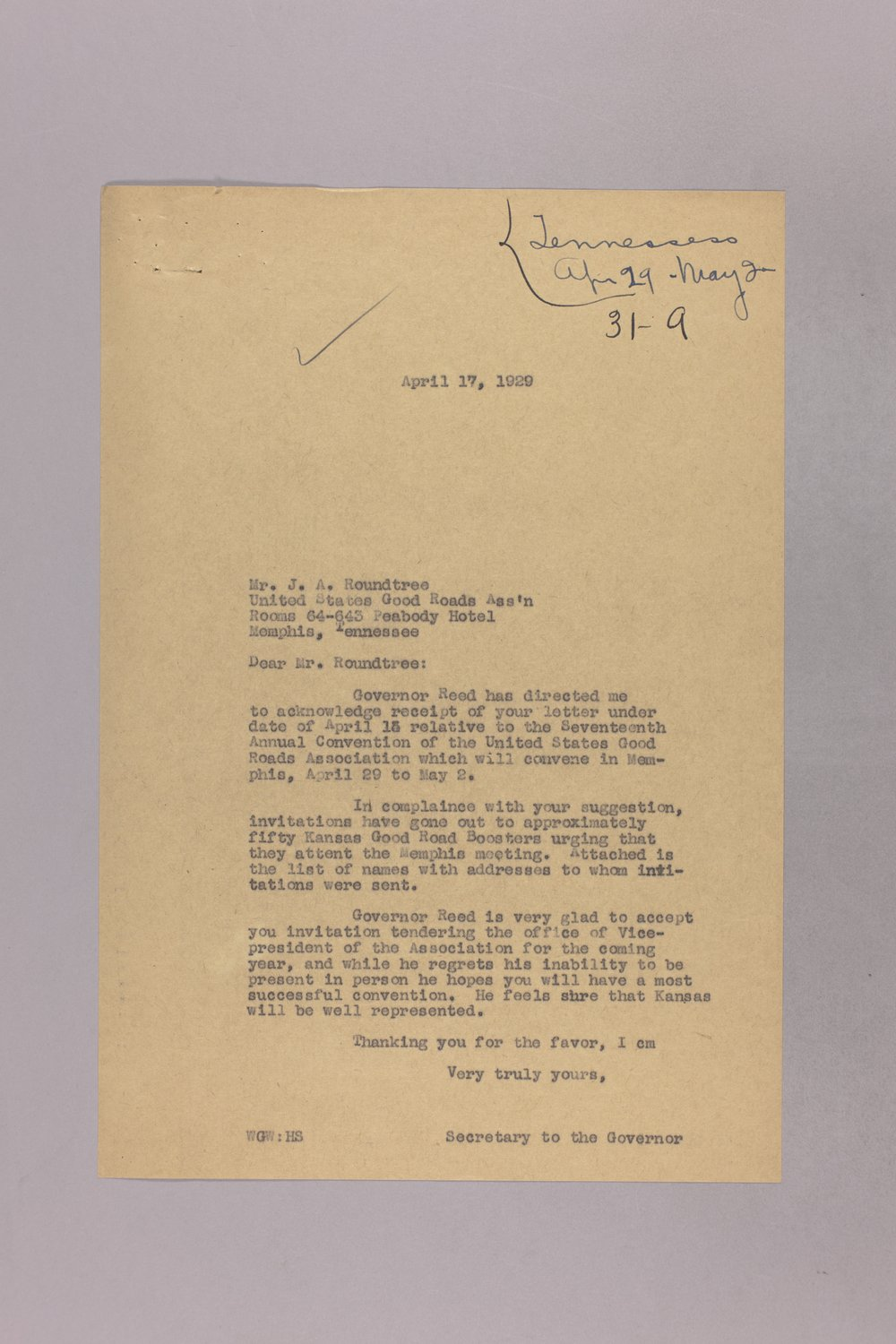 Governor Clyde M. Reed correspondence, honorary appointments - 4