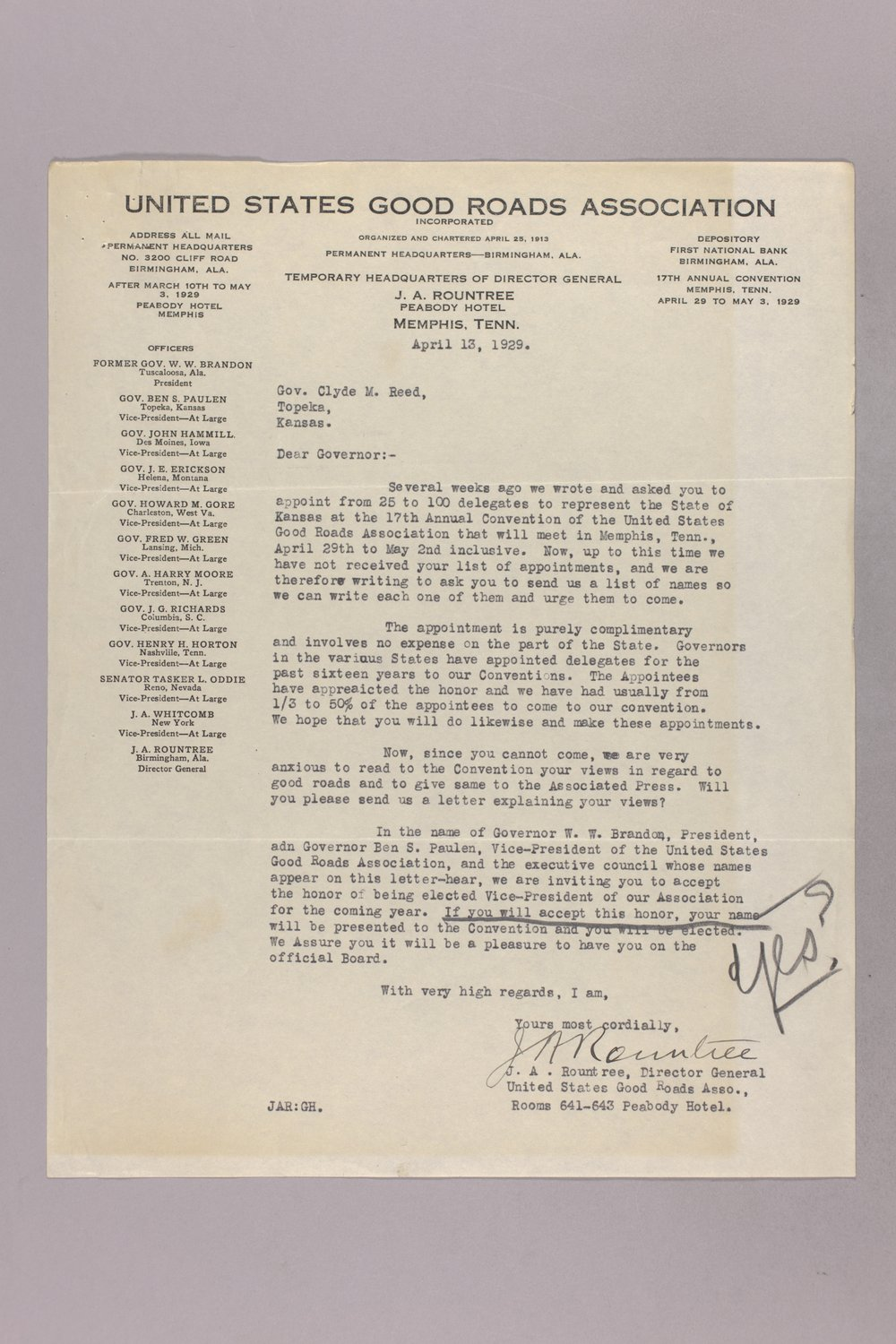Governor Clyde M. Reed correspondence, honorary appointments - 5