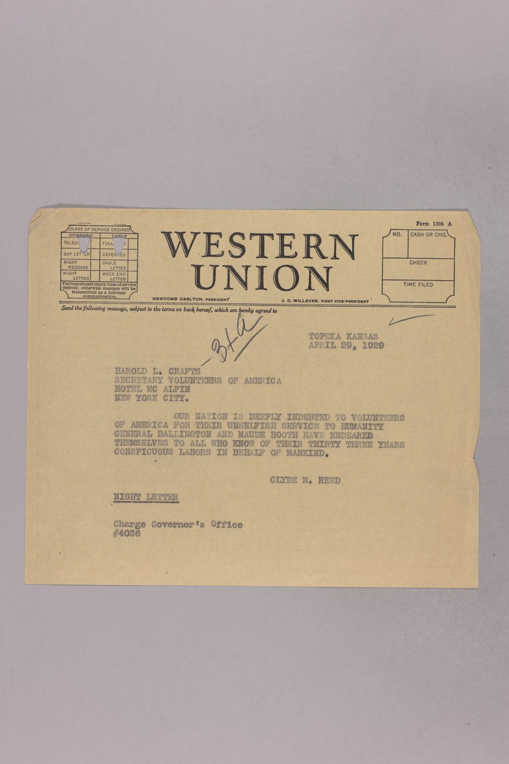 Governor Clyde M. Reed correspondence, honorary appointments - 10