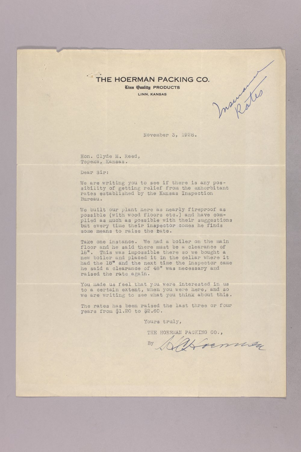 Governor Clyde M. Reed correspondence, insurance - 2
