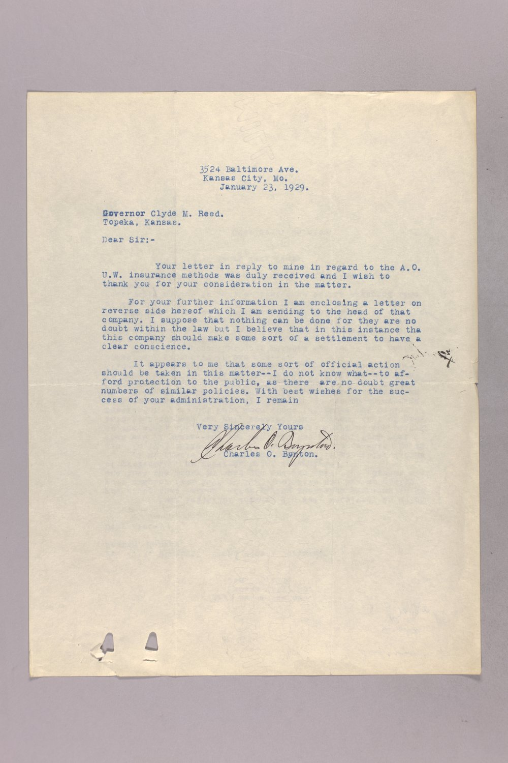 Governor Clyde M. Reed correspondence, insurance - 7