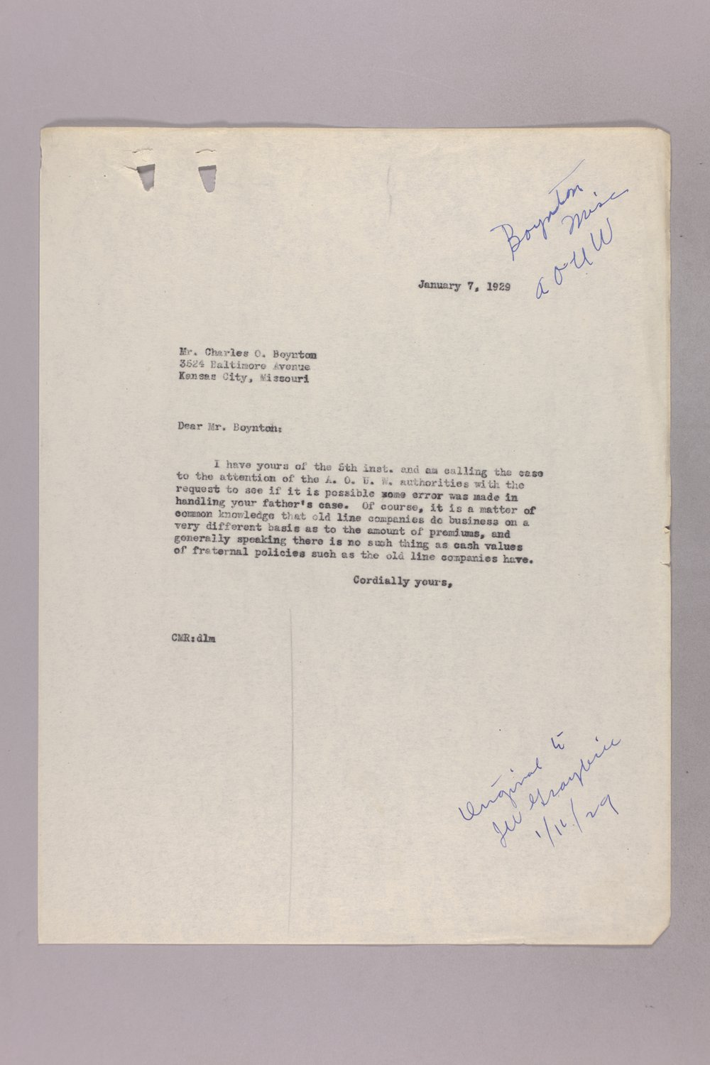 Governor Clyde M. Reed correspondence, insurance - 8