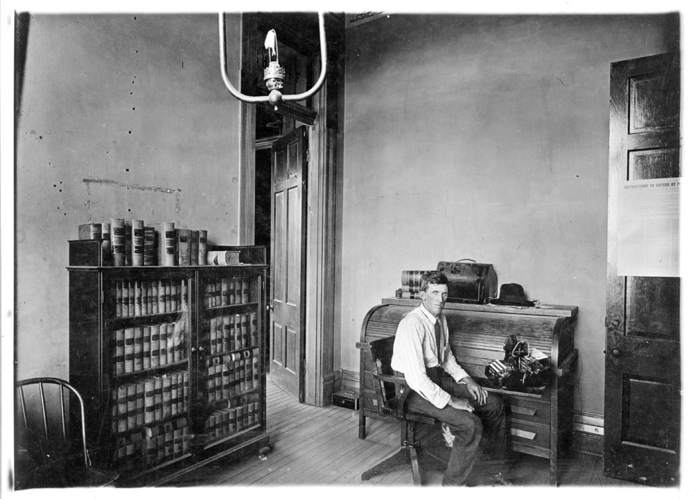 Alva Wycoff at the Logan County sheriff's office, Logan County, Kansas