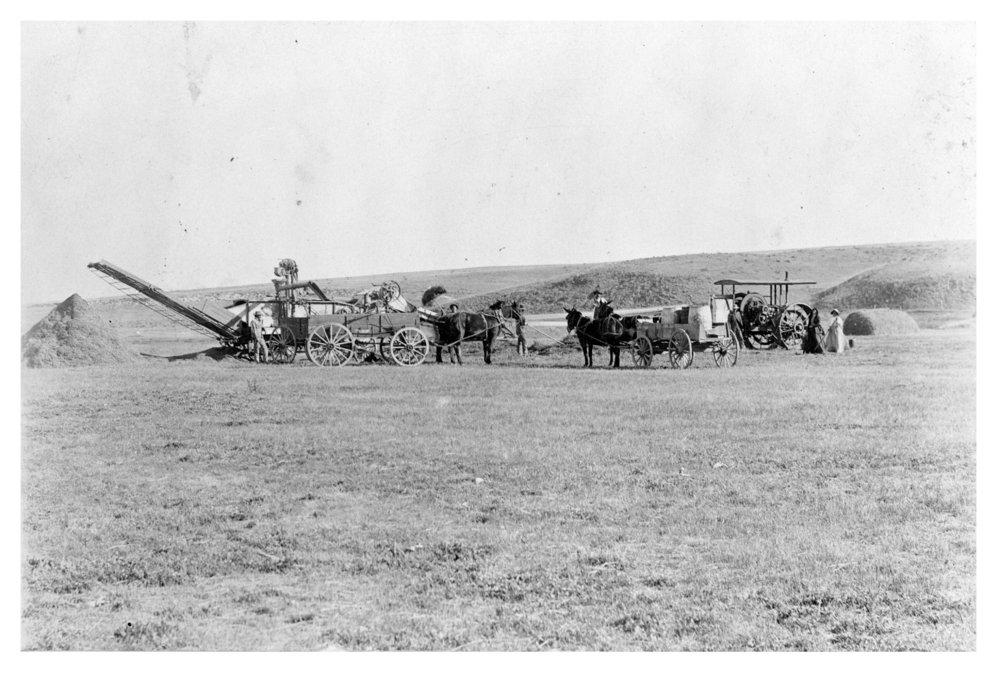 Arne Knox's threshing rig, Logan County, Kansas - 1