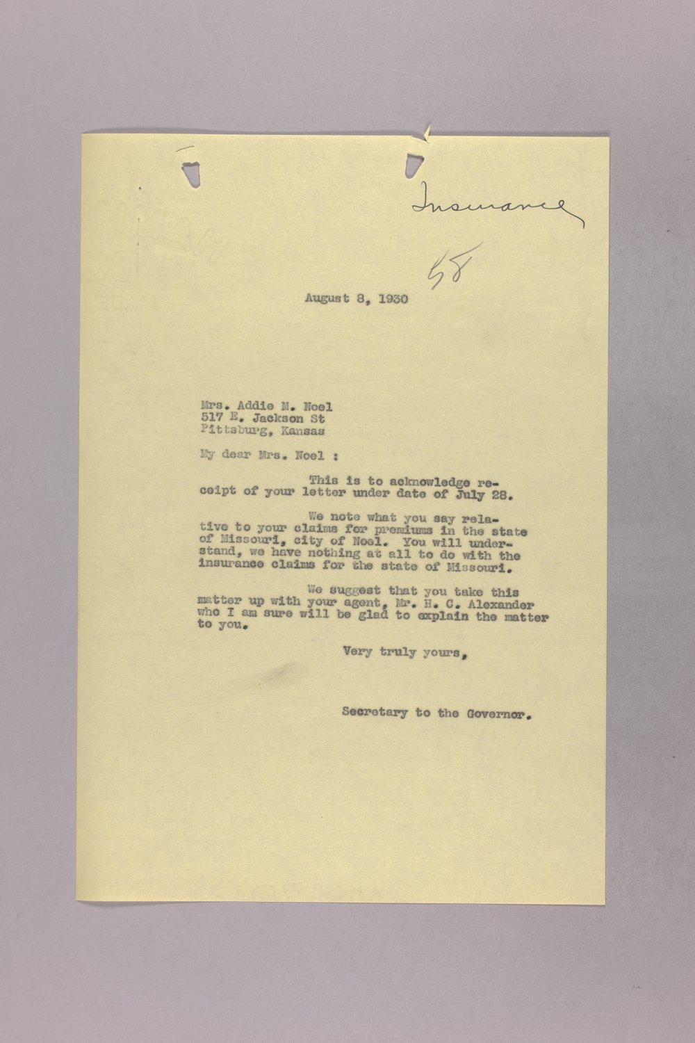 Governor Clyde M. Reed correspondence, hail insurance deduction - 1