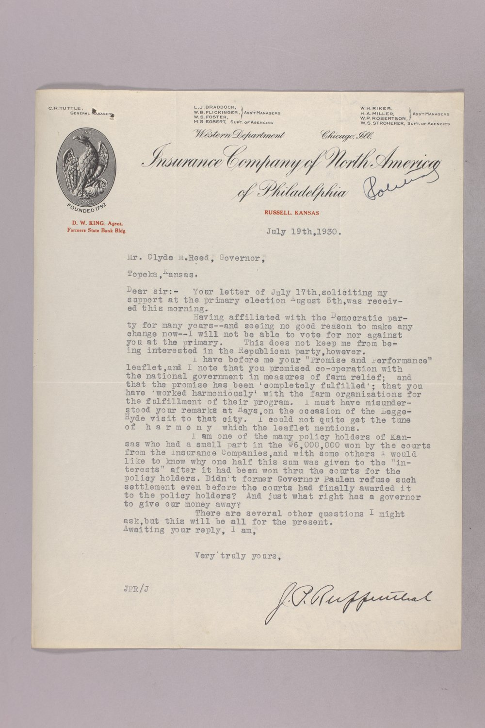 Governor Clyde M. Reed correspondence, hail insurance deduction - 4