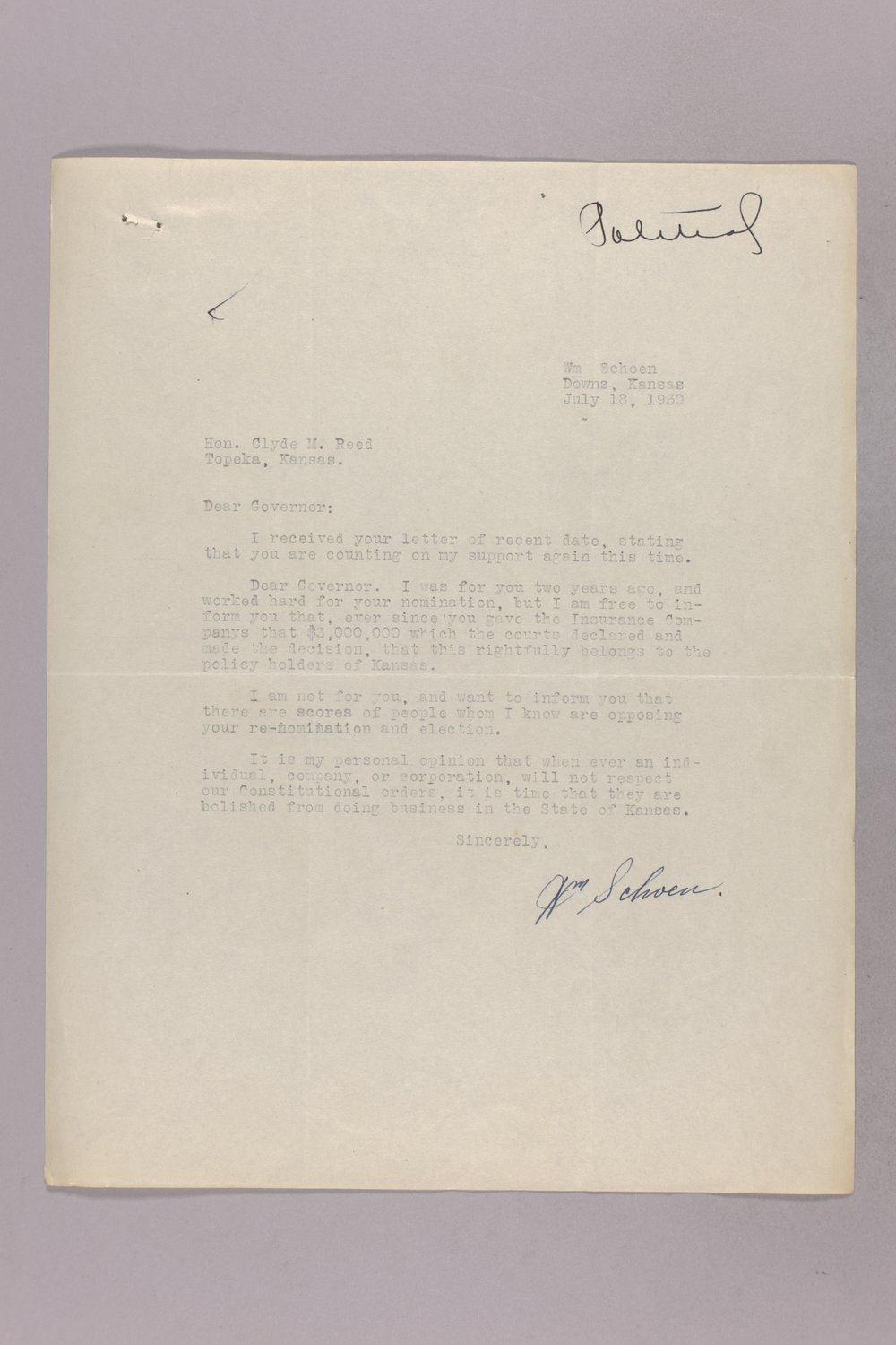 Governor Clyde M. Reed correspondence, hail insurance deduction - 6