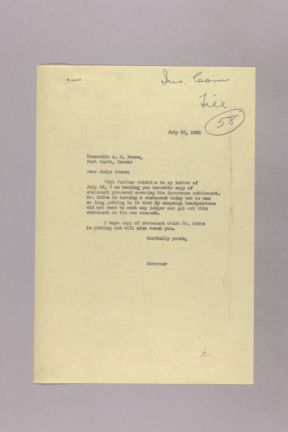 Governor Clyde M. Reed correspondence, hail insurance deduction - 7