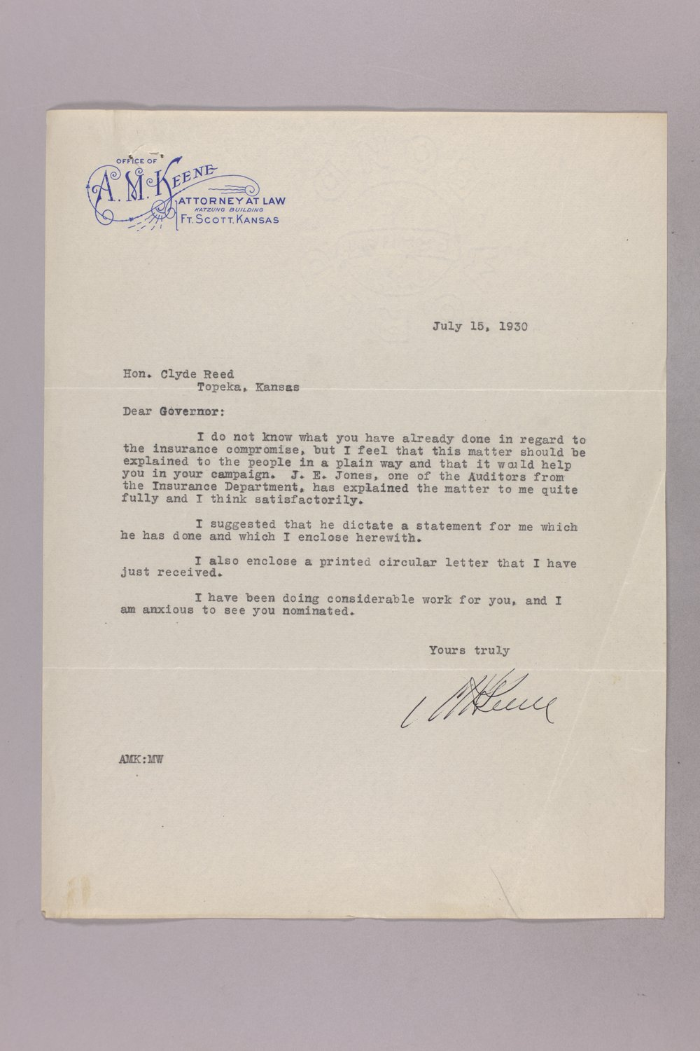 Governor Clyde M. Reed correspondence, hail insurance deduction - 9