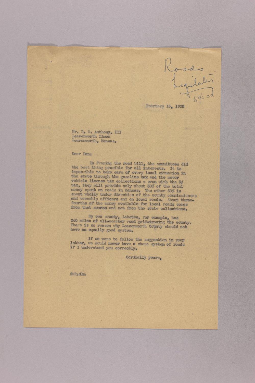 Governor Clyde M. Reed correspondence, road legislation - 2