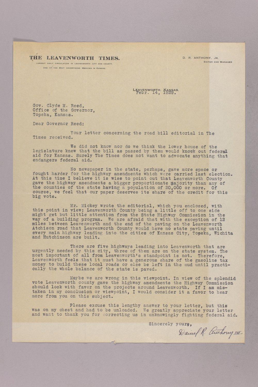 Governor Clyde M. Reed correspondence, road legislation - 3