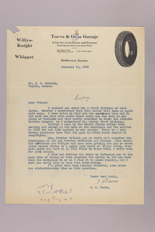 Governor Clyde M. Reed correspondence, road legislation - 5