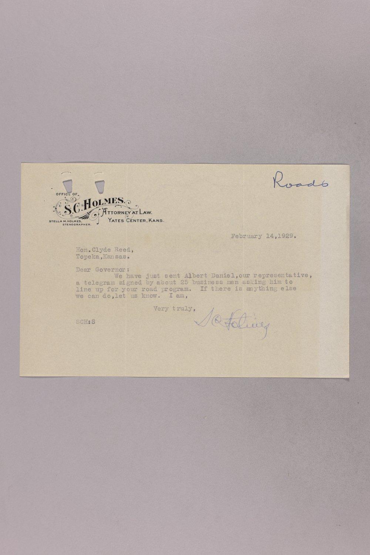 Governor Clyde M. Reed correspondence, road legislation - 9