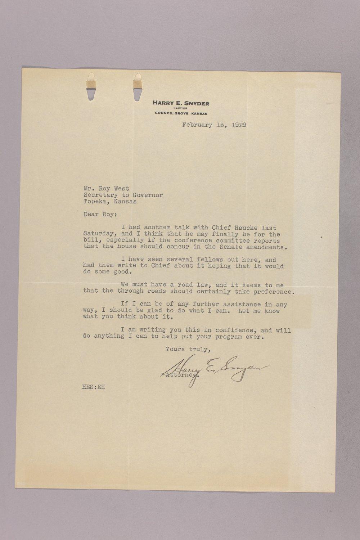 Governor Clyde M. Reed correspondence, road legislation - 10