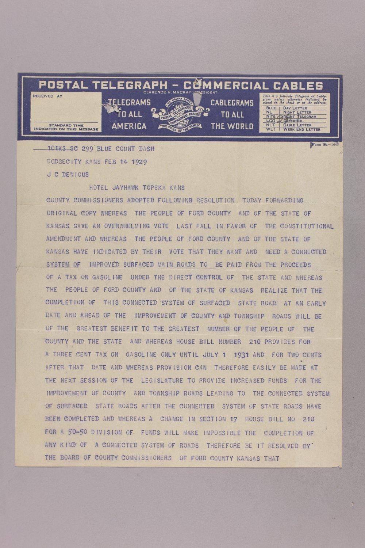 Governor Clyde M. Reed correspondence, road legislation - 11