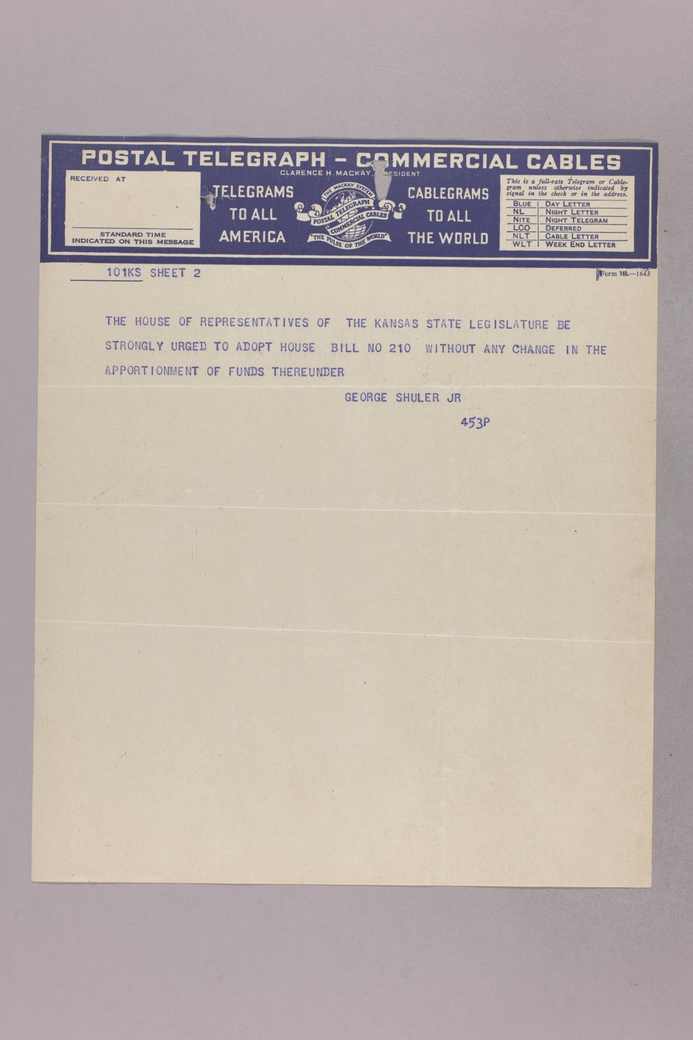Governor Clyde M. Reed correspondence, road legislation - 12