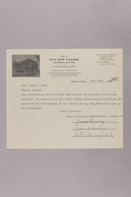 Governor Clyde M. Reed correspondence, road legislation - 83