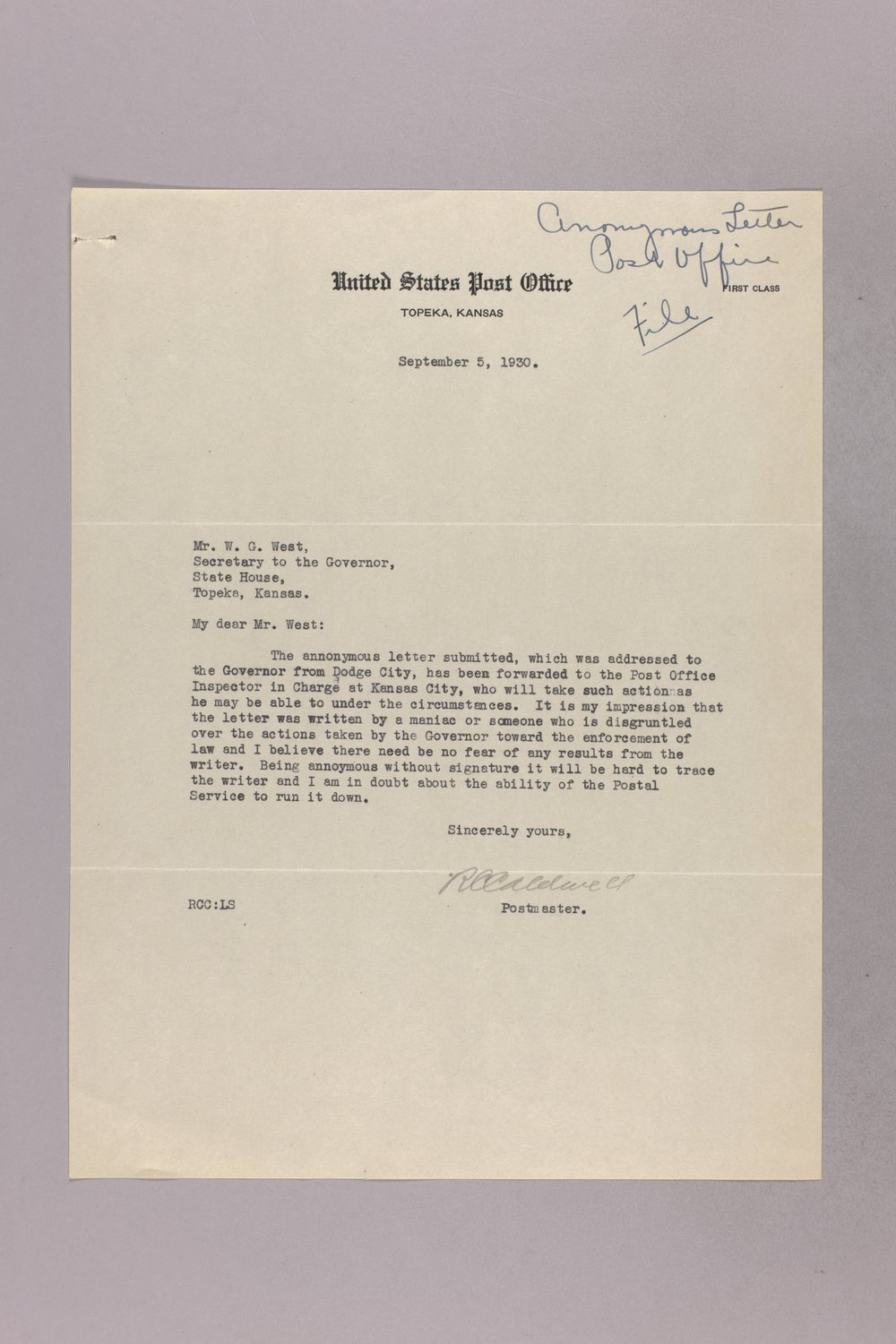 Governor Clyde M. Reed correspondence, United States Postal Service - 2