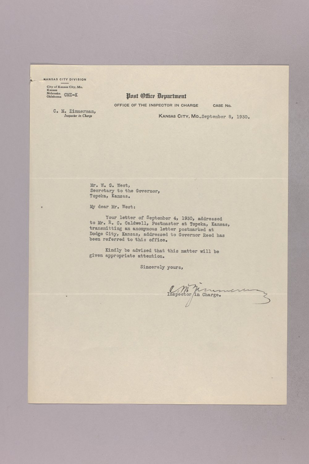 Governor Clyde M. Reed correspondence, United States Postal Service - 3