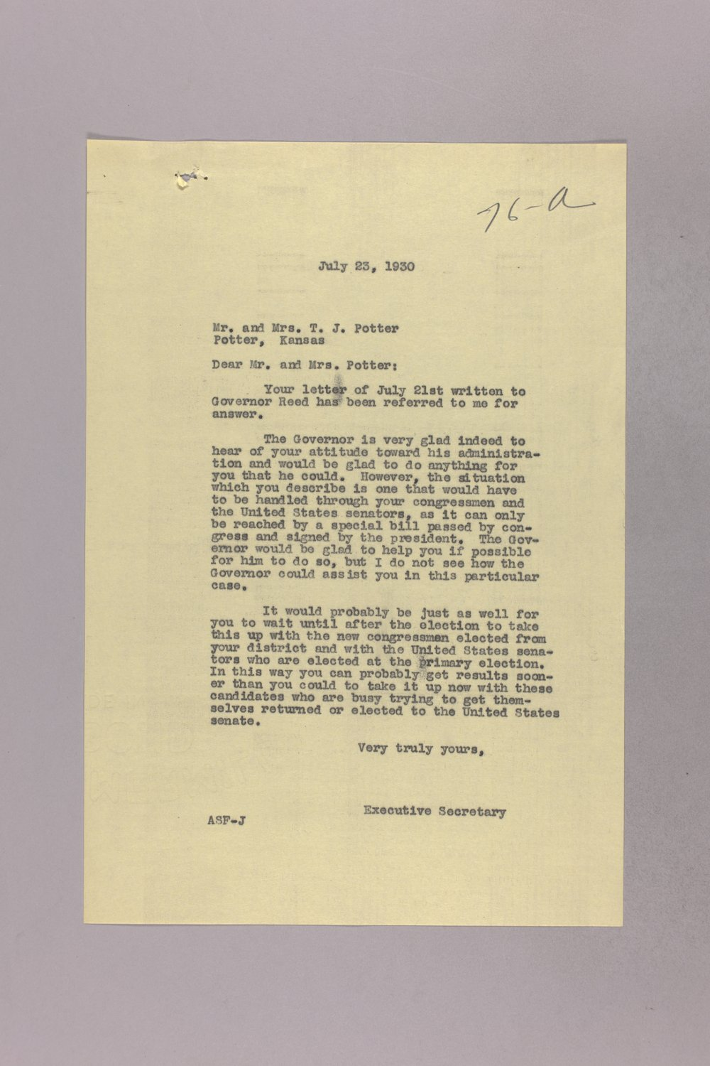 Governor Clyde M. Reed correspondence, United States Postal Service - 4