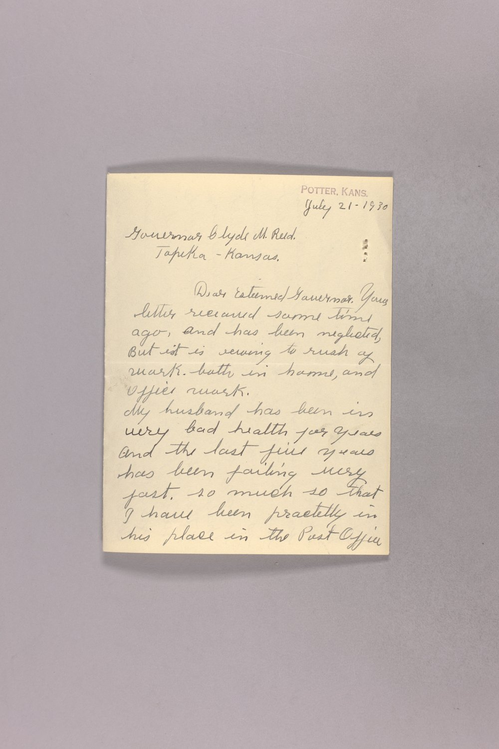 Governor Clyde M. Reed correspondence, United States Postal Service - 5