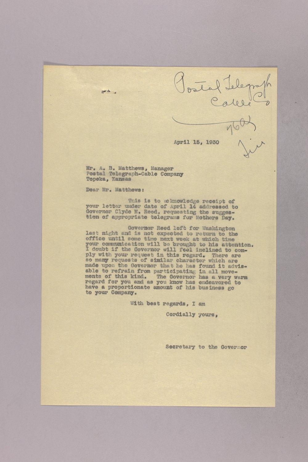 Governor Clyde M. Reed correspondence, United States Postal Service - 8