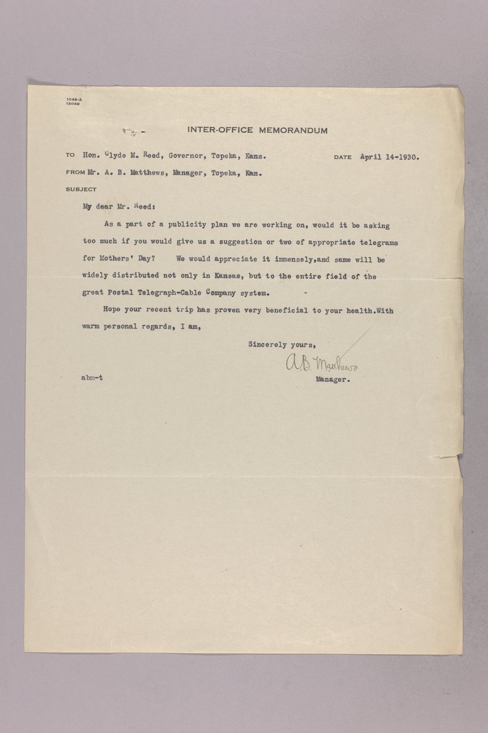 Governor Clyde M. Reed correspondence, United States Postal Service - 9
