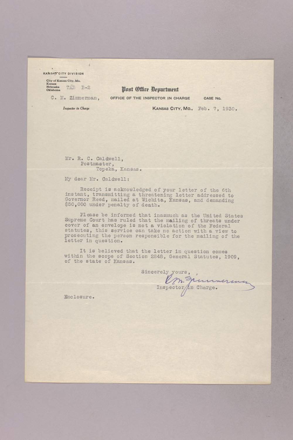Governor Clyde M. Reed correspondence, United States Postal Service - 10