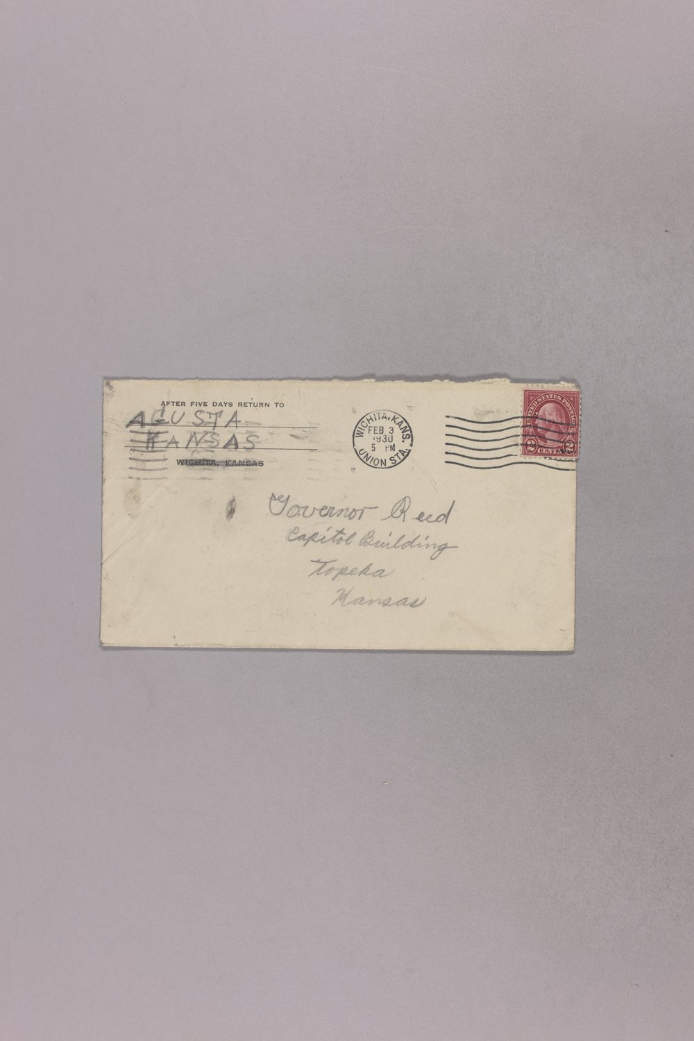 Governor Clyde M. Reed correspondence, United States Postal Service - 13
