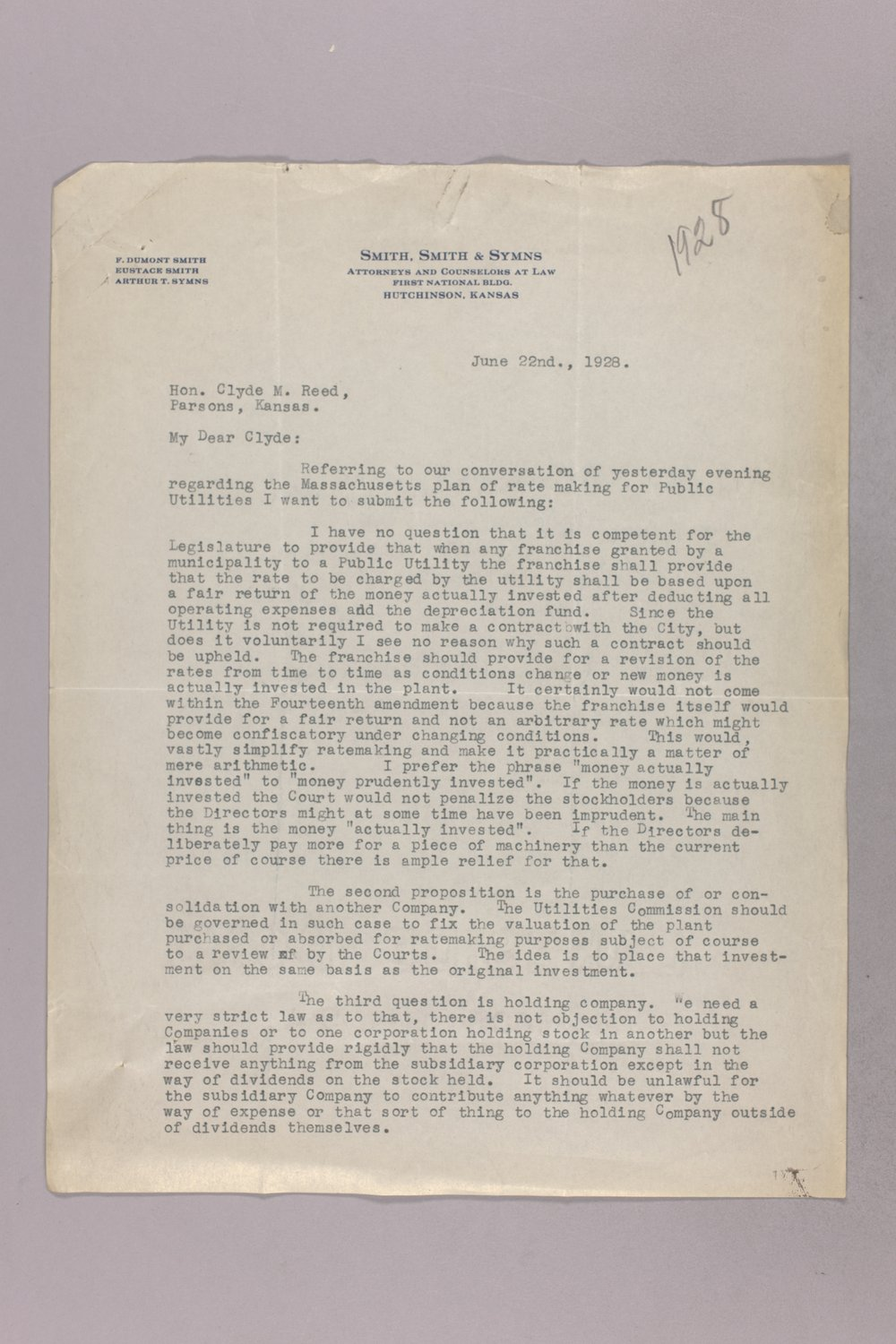 Governor Clyde M. Reed correspondence, Public Service Commission - 1