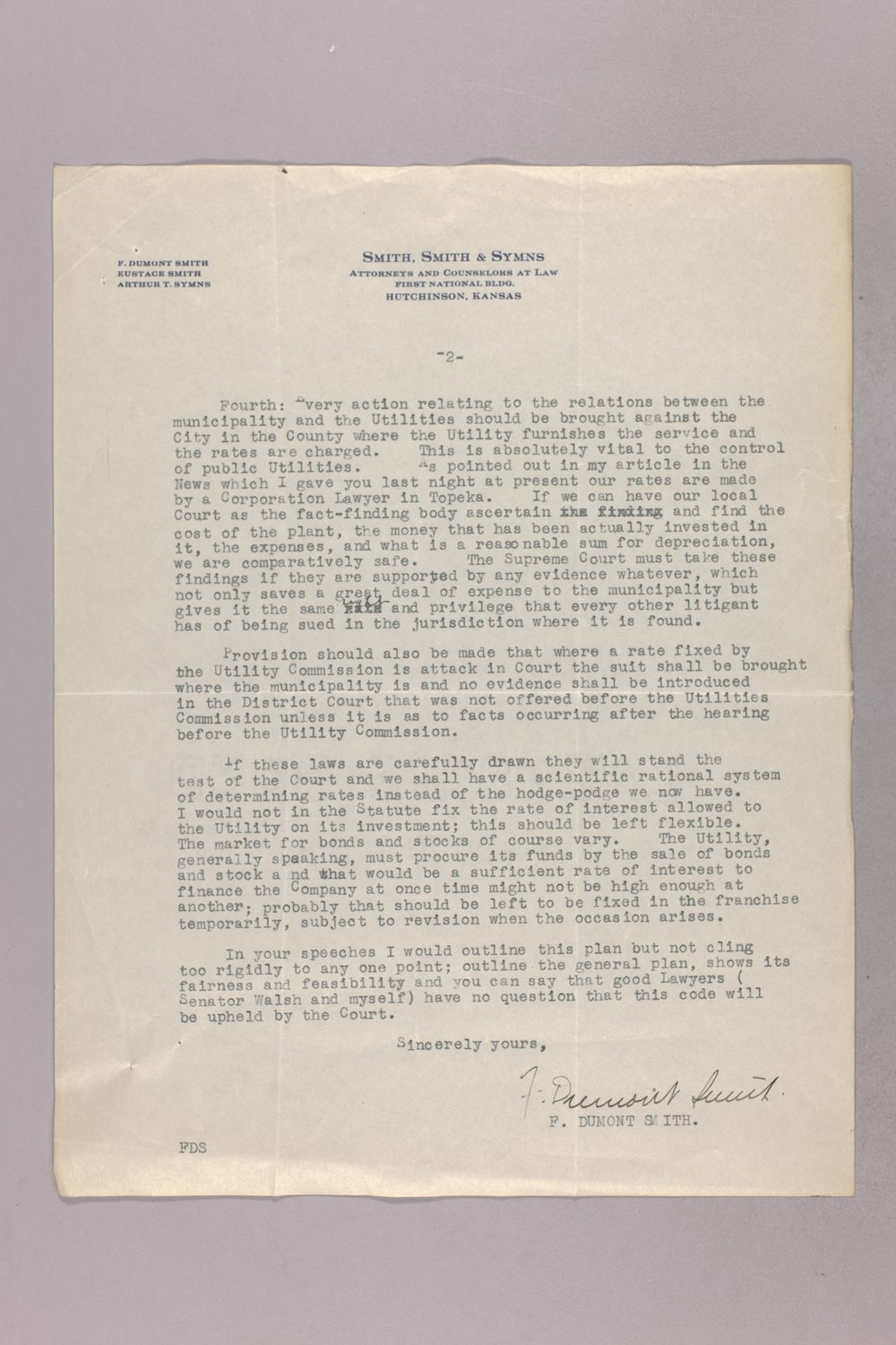 Governor Clyde M. Reed correspondence, Public Service Commission - 2