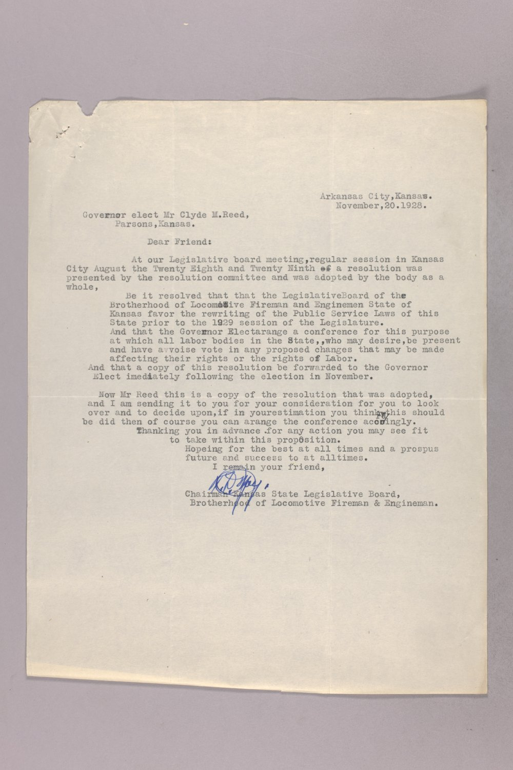 Governor Clyde M. Reed correspondence, Public Service Commission - 5