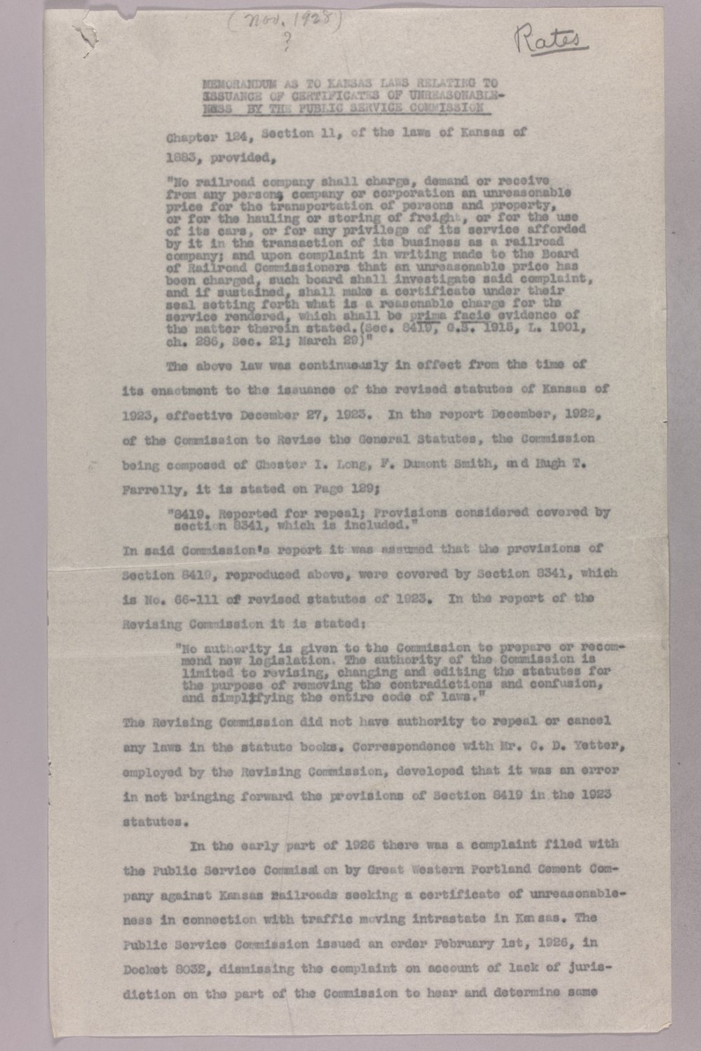 Governor Clyde M. Reed correspondence, Public Service Commission - 6