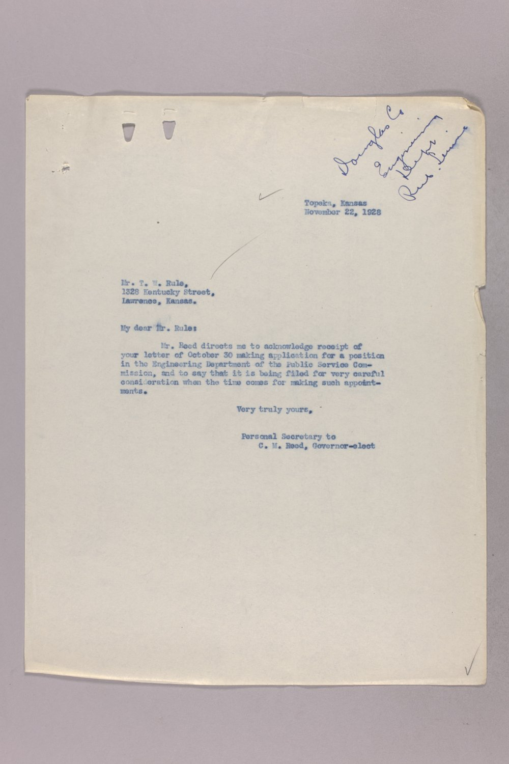 Governor Clyde M. Reed correspondence, Public Service Commission - 9
