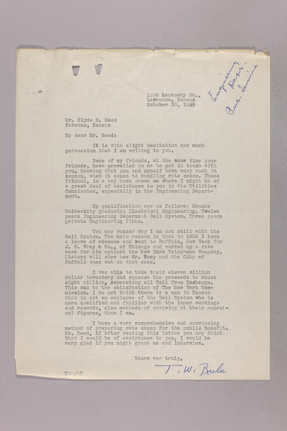 Governor Clyde M. Reed correspondence, Public Service Commission - 10