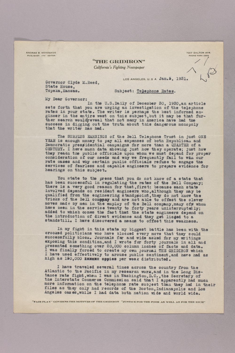 Governor Clyde M. Reed correspondence, Public Service Commission - 11
