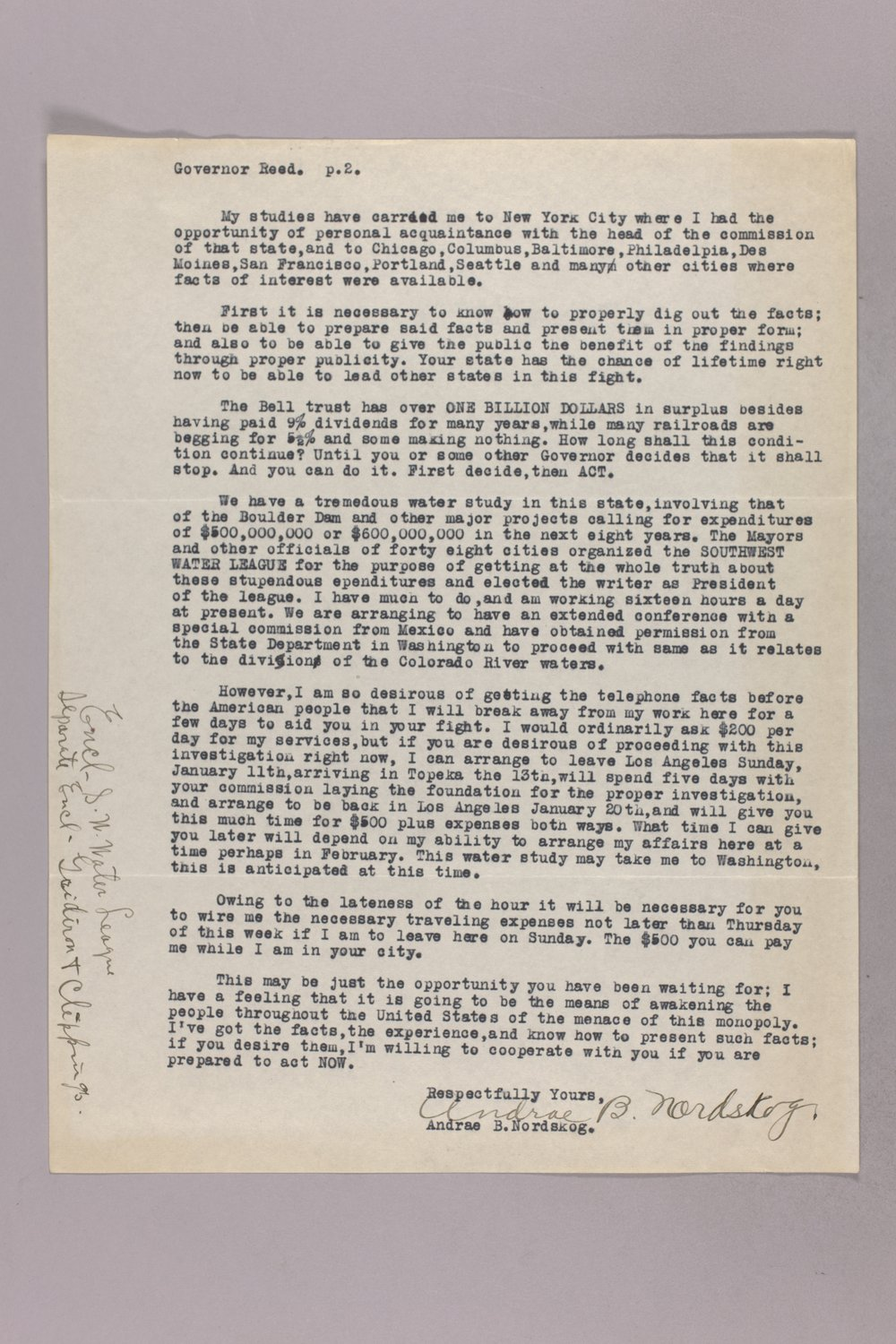 Governor Clyde M. Reed correspondence, Public Service Commission - 12
