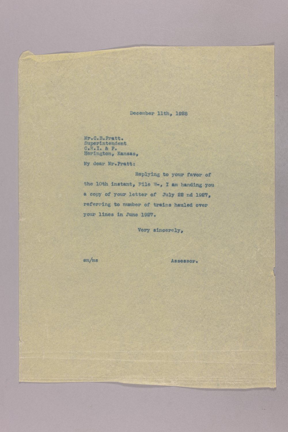 Governor Clyde M. Reed correspondence, Public Service Commission - 42