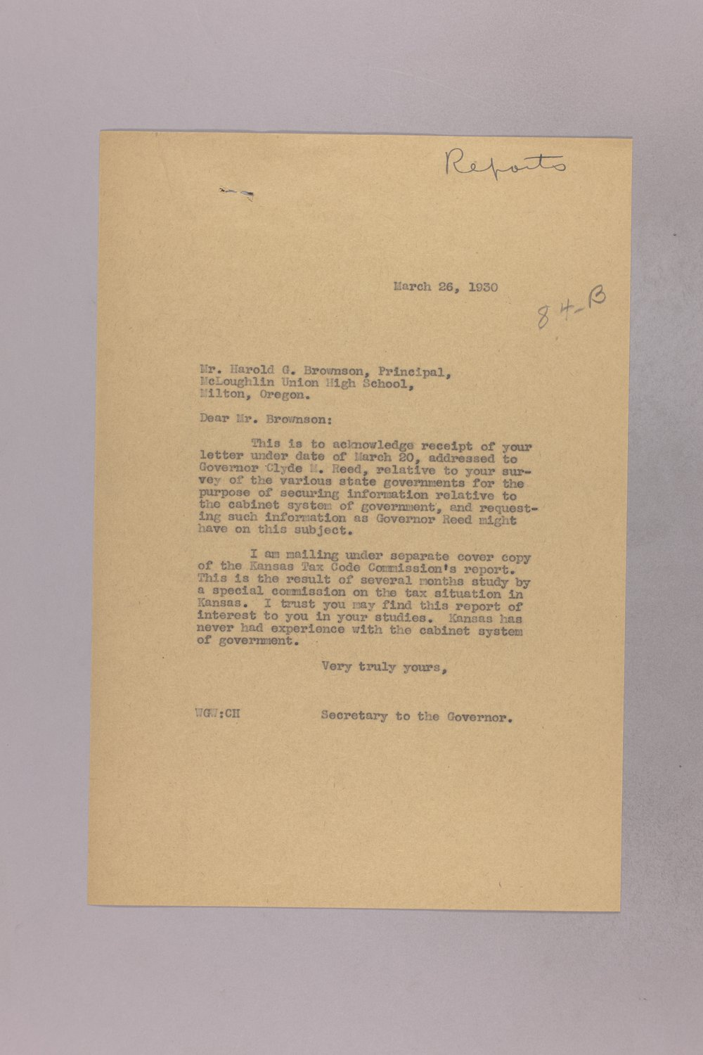 Governor Clyde M. Reed correspondence, reports - 1