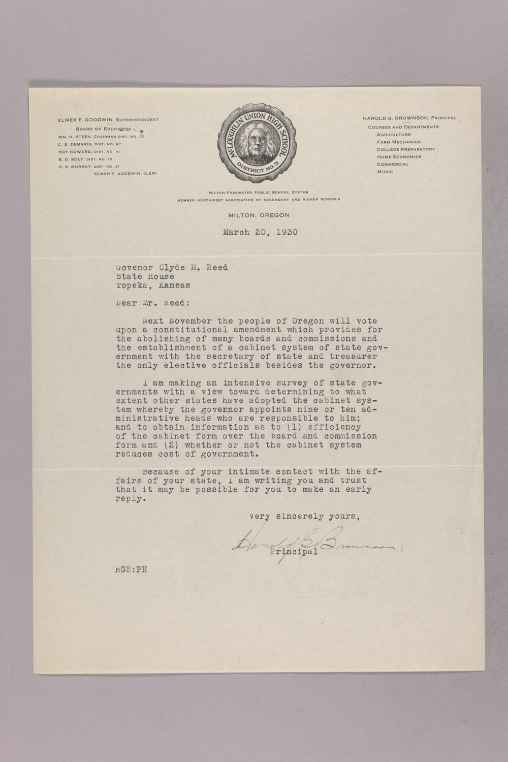 Governor Clyde M. Reed correspondence, reports - 2