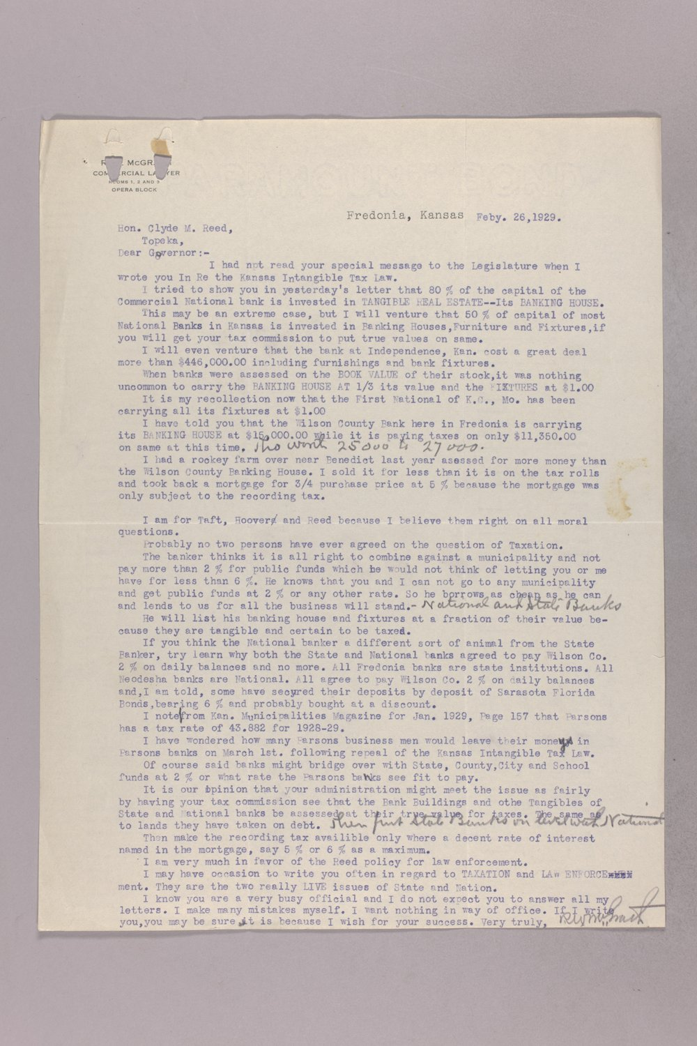 Governor Clyde M. Reed correspondence, tax matters - 11
