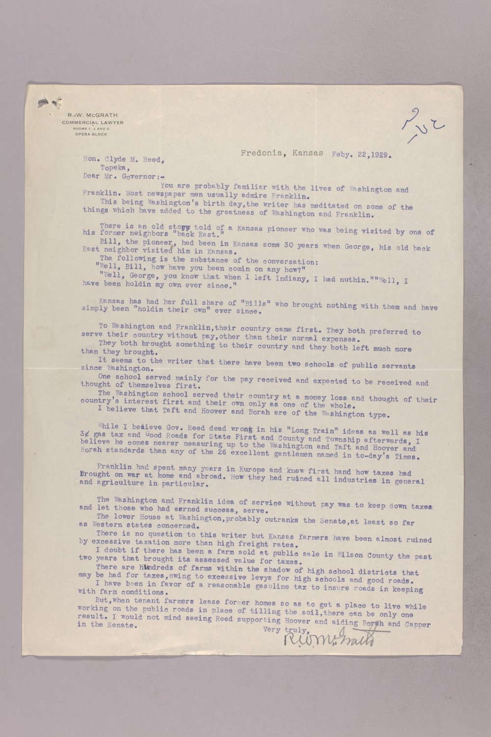Governor Clyde M. Reed correspondence, tax matters - 12
