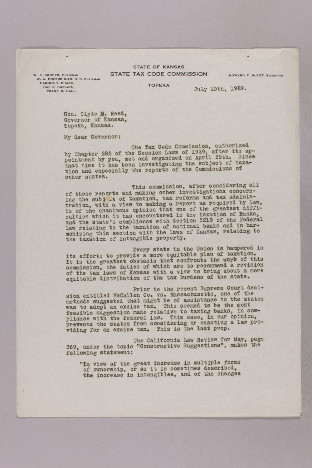 Governor Clyde M. Reed correspondence, Tax Code Commission - 1