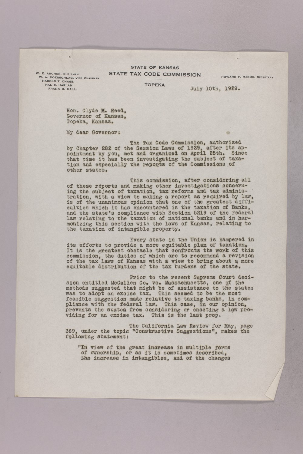 Governor Clyde M. Reed correspondence, Tax Code Commission - 4