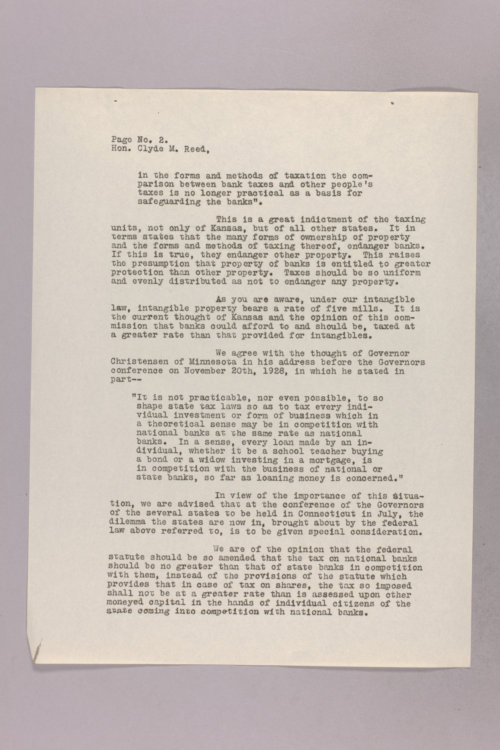 Governor Clyde M. Reed correspondence, Tax Code Commission - 10