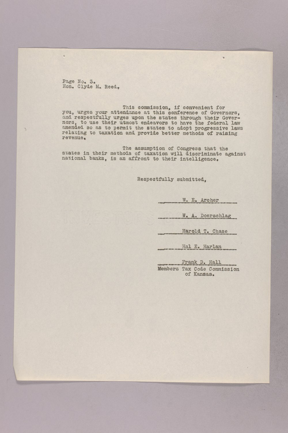 Governor Clyde M. Reed correspondence, Tax Code Commission - 11