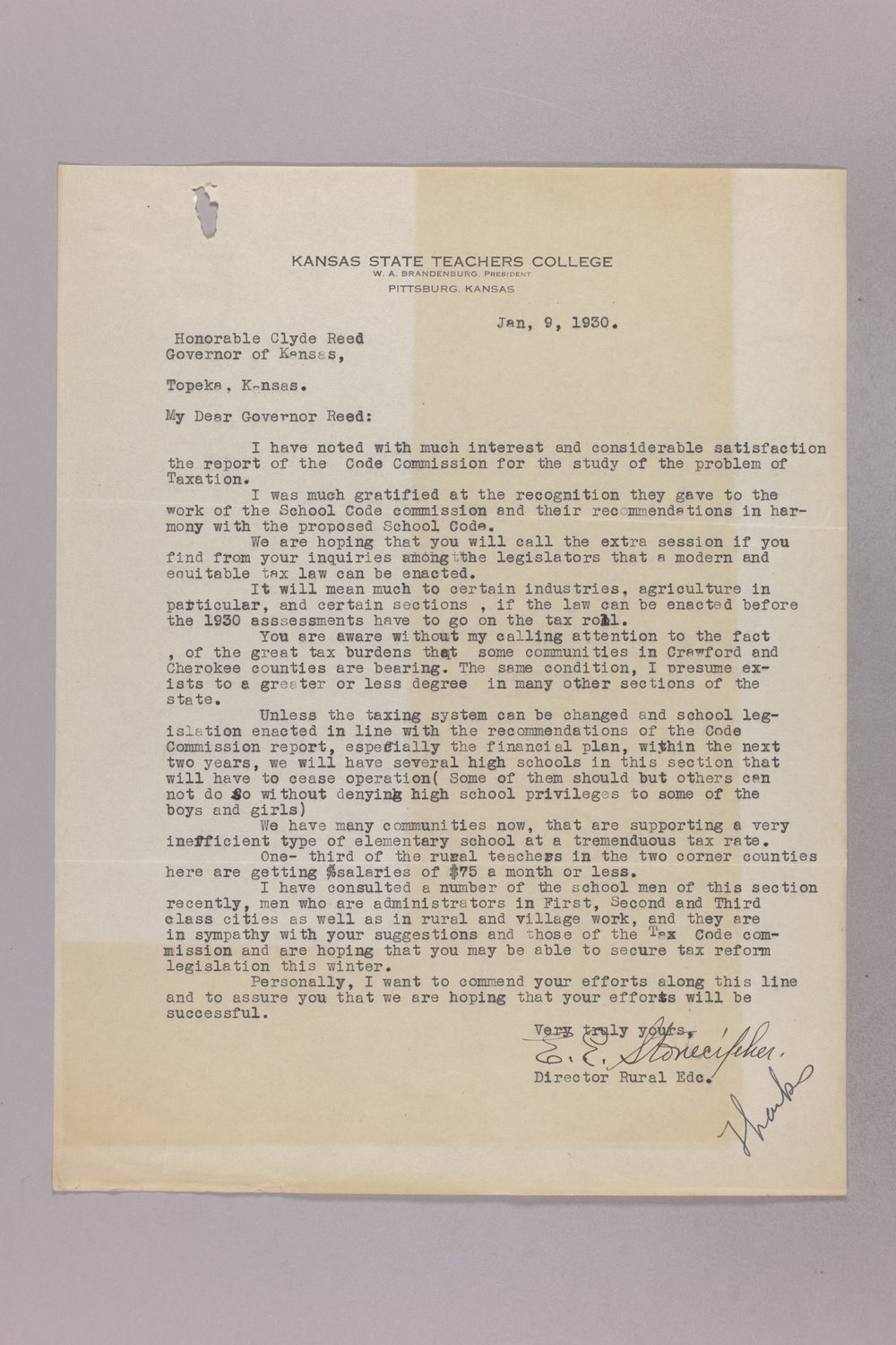 Governor Clyde M. Reed correspondence, Tax Code Commission - 43